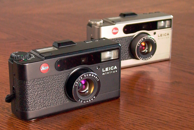 Leica Minilux silver and Leica Minilux black with the 40mm Summarit F/2.4 lens