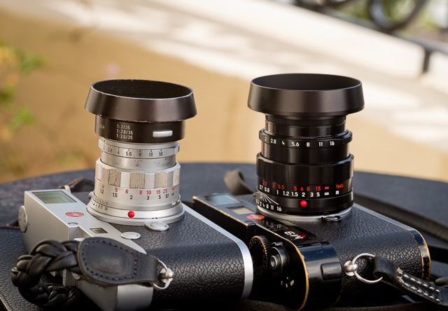 "So much to love: Two extremes that are in family and have many of the same qualities. The $400 - $1,800 50mm ""Rigid"" from 1956-68 (left), and ""The Worlds Best 50mm Lens"" from 2013, the APO-Summicron (right) in a limited ""LHSA"" edition for $9.595."