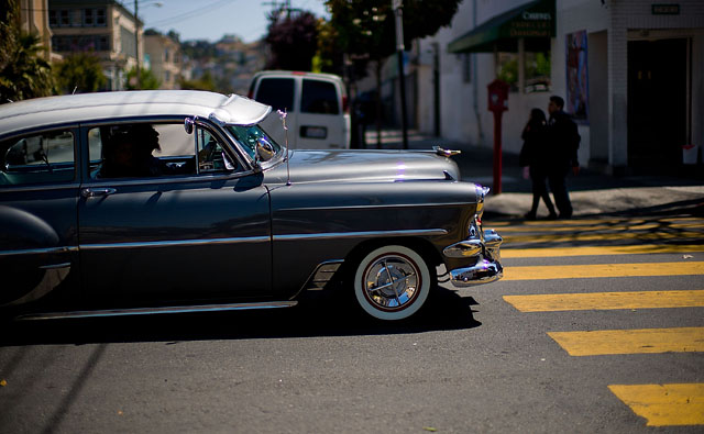 Classic car in the Mission District of San Francisco. Leica M9 with Leica 50mm Noctilux-M ASPH f/0.95. © 2012 -2016 Thorsten Overgaard.