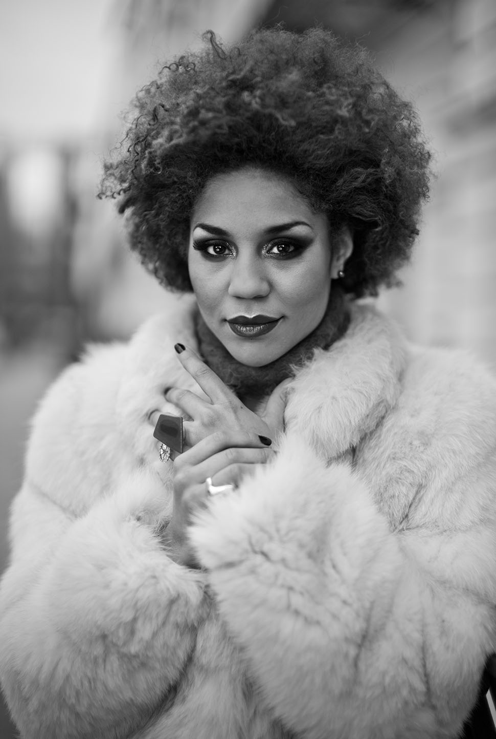 American actress and singer Joy Villa. Makeup by Jack Jack Tyson, jewrrelry by Creative Solutions Gallery. © 2013 Thorsten Overgaard. Leica M Monochrom with Leica 50mm Noctilux-M ASPH f/0.95