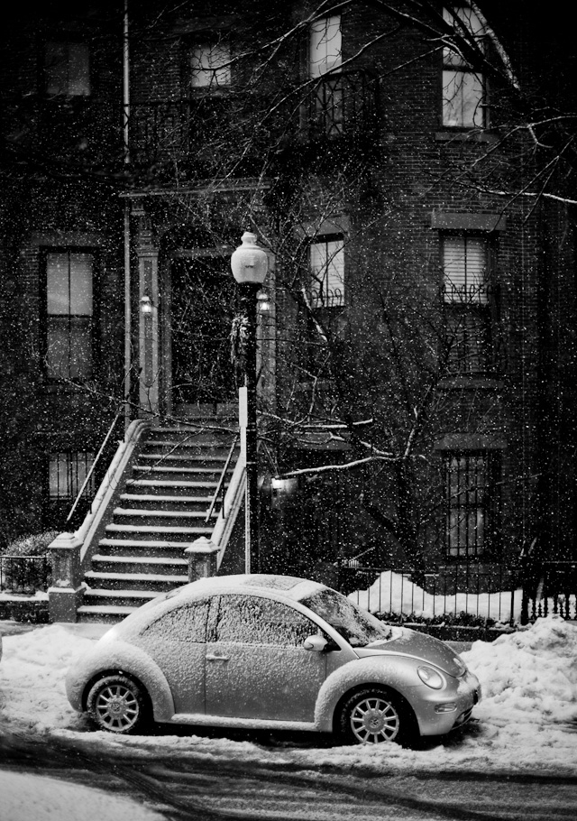 """Home, Sweet Home"" - I was waiting for someone to walk into my composition (in the below photo) when I turned left and saw this house with the VW in front. I had been walking for two hours in wet snow and my face, hair, glasses, camera and viewfinder were so wet I could hardly focus. I shot two frames of this and then turned back and shot the next pictures below."