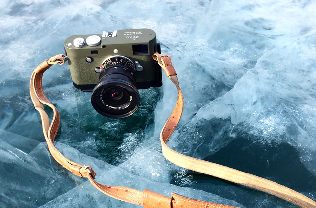 "The Leica M-P 240 Safari with Leica 16-18-21mm Tri-Elmar f/4.0 lens. The strap on the camera is Luigi's Custom Ostrich Leather and usuall comes with a half-case as well. The above photo is from the article ""Traveling through ice landscapes with the Leica M-P 240"""