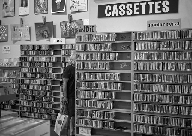 Cassettes still exist. Here it's inside Amoeba record store on Sunset Blvd in Hollywood. Leica M10 with Leica 40mm Summicron-C f/2.0. © 2018 Thorsten von Overgaard.