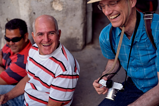 Christoph Kilger from germany having fun with the locals in Havana. Leica M10-P with Leica 50mm Summilux-M ASPH f/1.4 BC. © Thorsten Overgaard.