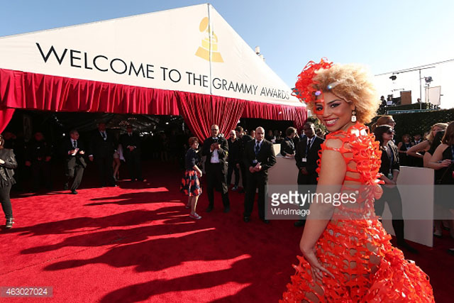 Joy Villa enters the red carpet at the GRAMMY AWARD 2015 (WireImage).