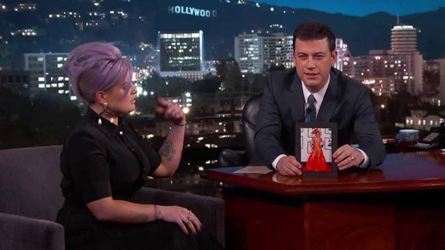 Kelly Osbourne talking about the Joy Villa dress on Jimmy Kimmel Live