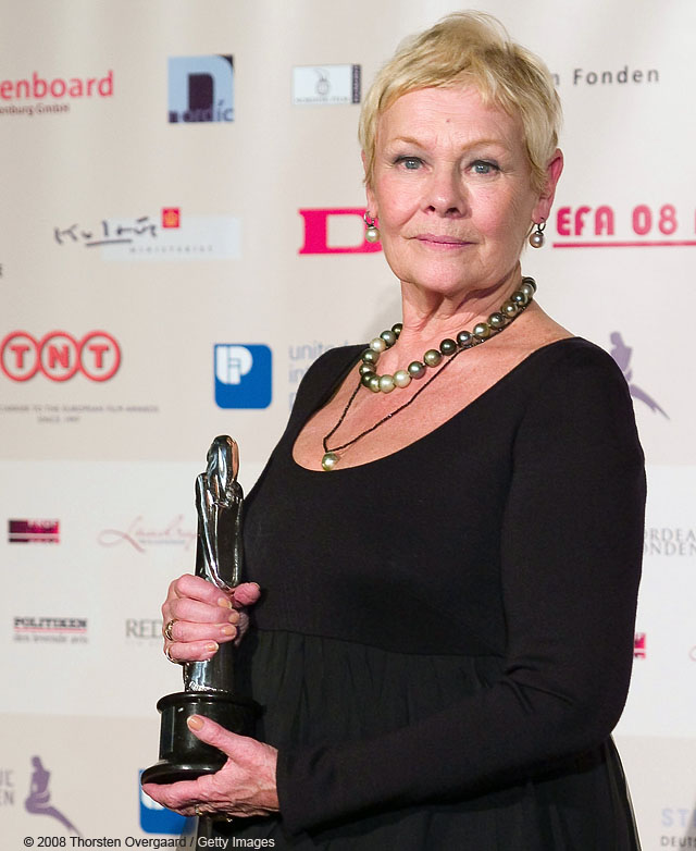 British actress Judi Dench receives an honorary LIFETIME ACHIEVEMENT AWARD at European Film Awards at Forum on December 6, 2008 in Copenhagen, Denmark  (Photo by Thorsten Overgaard/Getty Images)British actress Judi Dench receives an honorary LIFETIME ACHIEVEMENT AWARD at European Film Awards at Forum on December 6, 2008 in Copenhagen, Denmark  (Photo by Thorsten Overgaard/Getty Images)