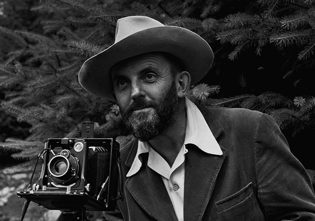 "Ansel Adams with his 4x5"" camera"