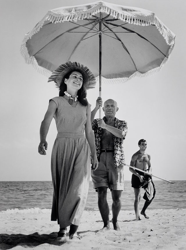 Robert Capa's famous photograph of Pablo Picasso with Françoise Gilot and his nephew Javier Vilato, August 1948.