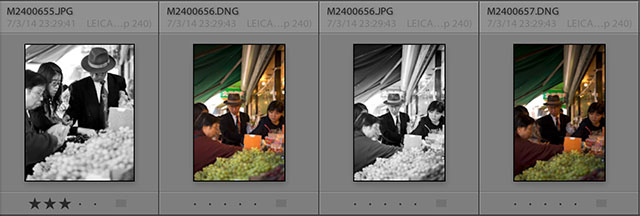 JPG Fine in black & white is side-by-side with the same color image in DNG