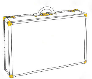 "Hard-sided Matteo Perin suitcases in deer skin and calf skin, leather handle and brass locks/corners. 49 x 23 x 75 cm / 19.3 x 9 x 29.5"" (sketch for client)."