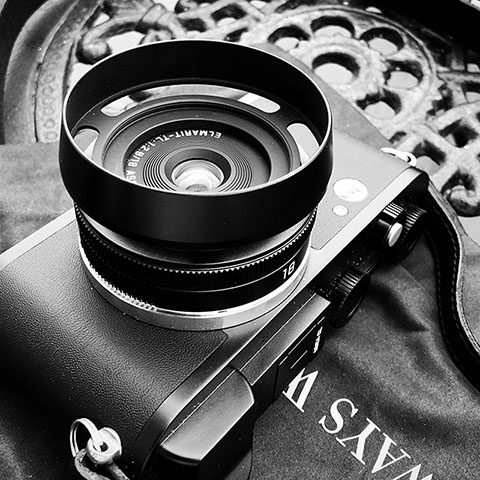 "Leica 18mm Elmarit-TL ASPH f/2.8 ""pancake lens"" on the Leica CL, with the E39mm ventilated shade ($149) designed by Thorsten von Overgaard. Camea strap by Rock'n'Roll Camera Straps & Bags."