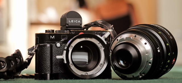 My Leica M240 with the Leica M PL Mount Adaptor and Leica Cine 18mm Summicron-C f/2.0. The lens is put into the PL mount and locked in place with the aluminum handle you see sticks out. There hasn't beenn made an adapter for the Leica M10 yet - likely because the Leica M10 doesn't do video.