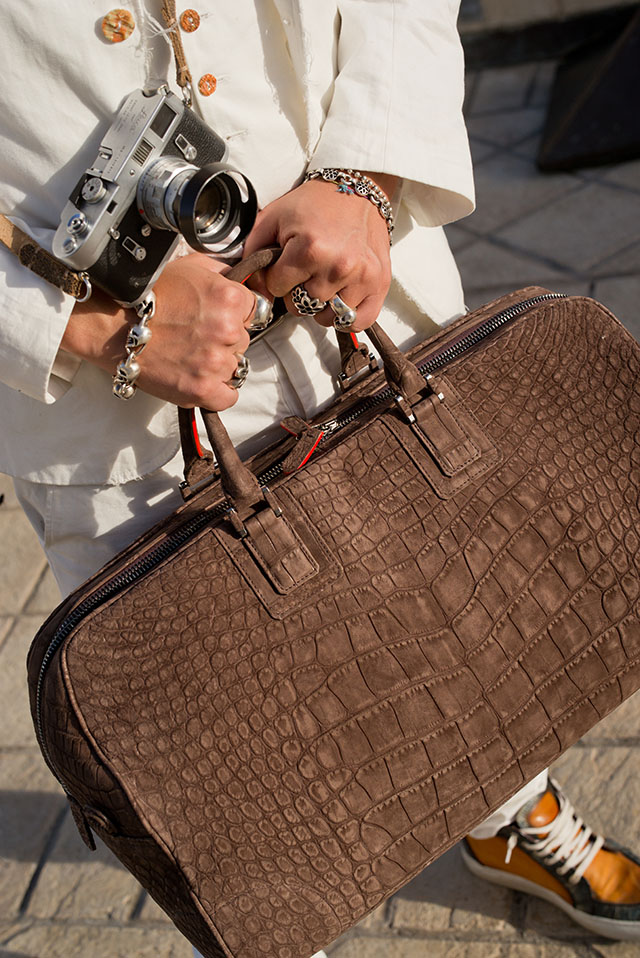 Another type of the 24hr Bag by Matteo Perin and Thorsten von Overgaard: A croc duffle bag.