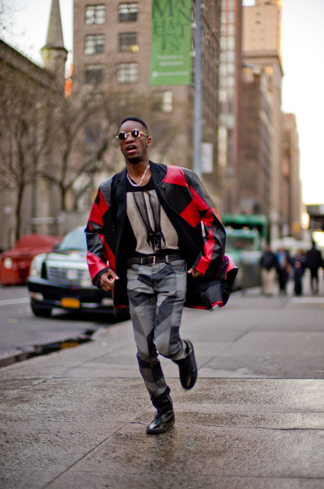 For this shoot of fashion designer Justin Etienne in New York I had him run back and forth a few times to capture this. Leica M 240 with Leica 50mm Noctilux-M ASPH f/0.95. ISO 200, 1/250 second. © 2016 Thorsten Overgaard.