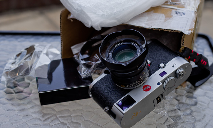 Lens shades have arrived. Here's the black ventilated lens hood on the Leica M 240.