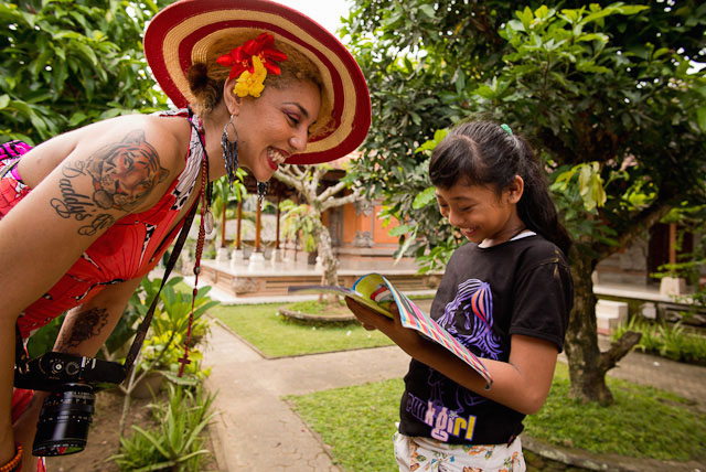 Joy Villa and Butang having fun with the picture dictionary. Butang learned English, and Joy learned Indonesian. Leica M 240 with Leica 21mm Summilux-M ASPH f/1.4