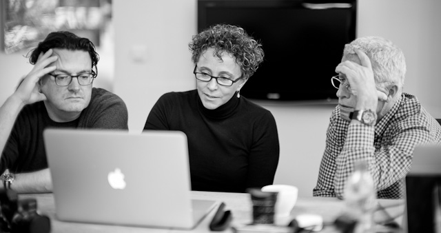 James, Eleanor and Lars working on editing at the Overgaard Workshop Berlin. Leica M Type 240 with Leica 50mm Noctilux-M ASPH f/0.95.