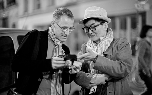 Matthias Frei and Ike Lee geeking out in Paris while we wait for our dinner table. Leica M Type 240 with Leica 50mm Noctilux-M ASPH f/0.95.