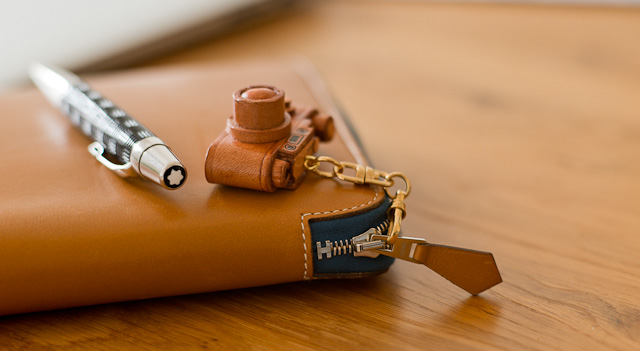 Small leather Leica keyring