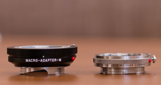Macro adapters for the Leica M10: Leica Macro-Adapter-M (Typ 14.562) in 2014 ($695) to the left and the OUFRO to the right. © 2013-2017 Thorsten Overgaard.