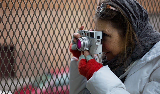 The Leica M8 in white still sells way above new price. Here Sori with hers in the snow of New York in 2011 when she had just gotten it (and still keeps it).