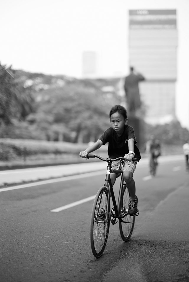 "Sunday is car-free day on some of the busy mainroads in Jakarta.""The Future of Jakarta"", Leica M 240 with Leica 50mm Noctilux-M ASPH f/0.95. © 2013 Thorsten Overgaard."