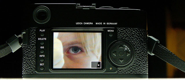 "The 2.5"" LCD-screen on the back of the Leica M9."