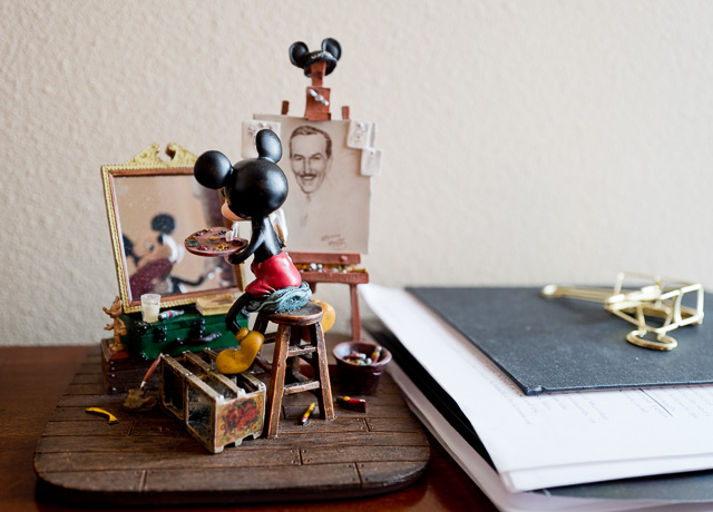 Mickey Mouse and Walt Disney in the mirror
