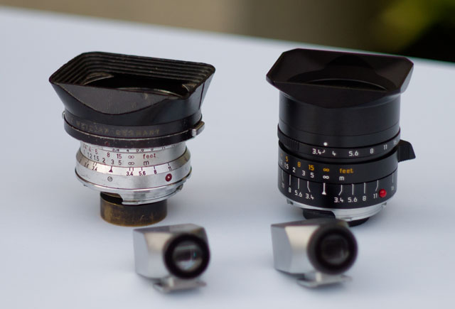 Leica 21mm Super-Angulon-M f/3.4 from 1960's is now replaced by the current Leica 21mm Super-Elmar-M ASPH f/3.4