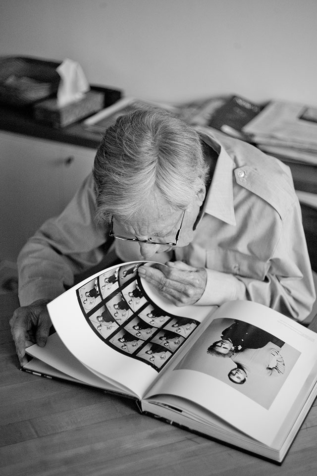 Don Hunstein with the contact sheets of Simon & Garfunkel shown in his book. Leica M Monochrom with Leica 50mm Summicron-M f/2.0 II.