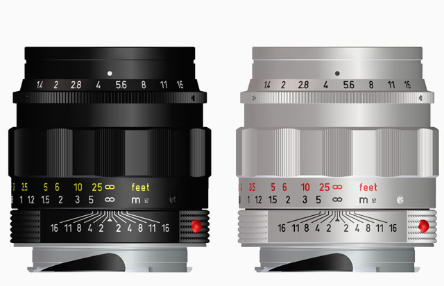 An example of standard engravings and use of colors. The Leica 50mm Summilux-M ASPH f/1.4 LHSA limited edition lens (this is a lens that was made in the 1959-design but with the 2004-design of the glass inside). On black lenses the feet are given in orange or red, on chrome lenses the feet are given in red (or orange). It has been claimed that the color indicates if it is a brass lens, but that is not the case according to the lens designers I have spoken to. There has never been a system like that for Leica lenses. LHSA is short for Leica Historical Society of America.