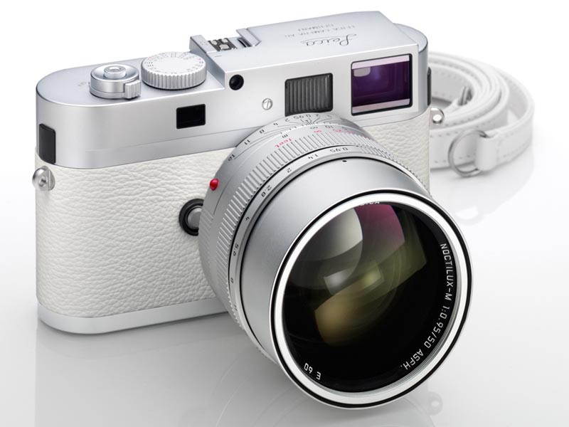 Leica M9-P in silver with white leather and white leather strap