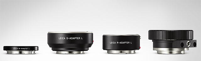 Adapters for the Leica TL2: from left for Leica M lenses, Leica S lenses, Leica R lenses and Leica Cine Lenses.
