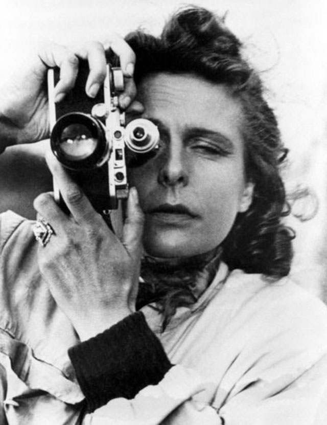 "Leni Riefenstahl (Helene Bertha Amalie ""Leni"" Riefenstahl), 1902 - 2003) with her Leica."