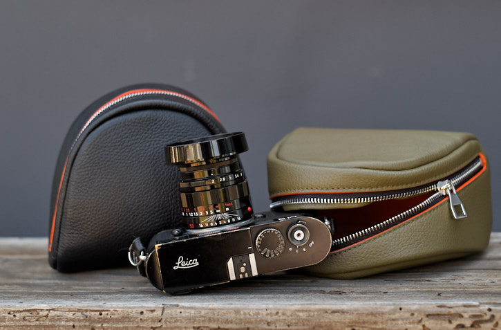 "Auch! - The Camera Pouch comes in two colors. the Safari Olive Green was meant for the limited Safari Edition cameras but turned out so beautiful I decided to use it for everything. ""Handmade in Italy of the finest materials, by the finest people, for the most awesome people in the world"""