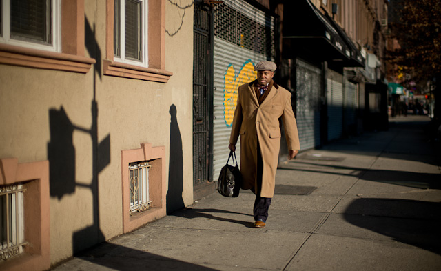 Doorman Edwin Dominguez on way to work Brooklyn. He was Doorman of the Year on Manhatten. Leica M 240 with Leica 50mm Noctilux-M ASPH f/0.95.