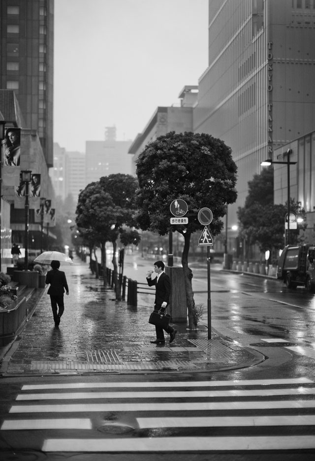 We woke up very early the first days. That's how I got to take this photo in Ginza early morning 7AM in the rain. © 2015 Thorsten Overgaard.