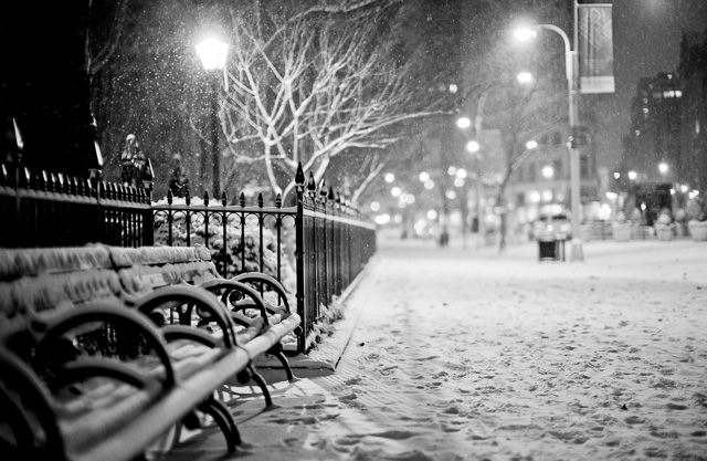 The New York 2016 Blizzard. I went out at 03 AM in the morning as it had started snowing. Here it is by Madison Square Park. Leica M 240 with Leica 50mm Noctilux-M ASPH f/0.95. © 2016 Thorsten von Overgaard.