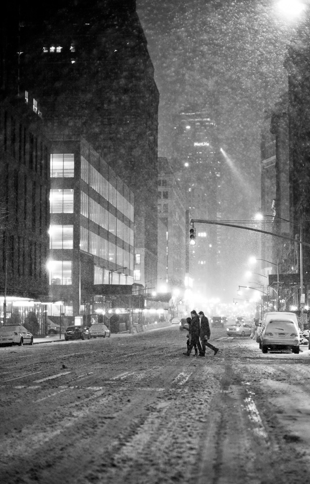 6th Avenue with the MetLife building in the background and the last drunk people trying to get home. 04 AM in New York during the 2016 Blizzard. Leica M 240 with Leica 50mm Noctilux-M ASPH f/0.95. © 2016 Thorsten von Overgaard.