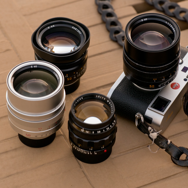 "The Noctilux ""King of the Night"" lens. From left the 0.95 in silver (same on the camera, in black, the f/1.0 in the back and the rare and expensive first model, the f/1.2 in the front."