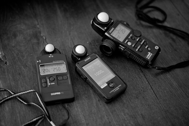 Gossen Digipro F2, Sekonic Litemaster Pro L-478DR and Sekonic L-758 DR lightmeters