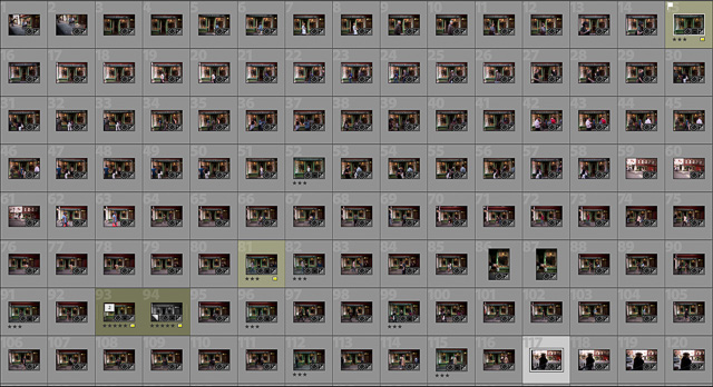 The contact sheet: I did 120 pictures of the bakery, hoping one of them would be a moment of the right persons, rhythm and emotion. © 2017 Thorsten Overgaard.