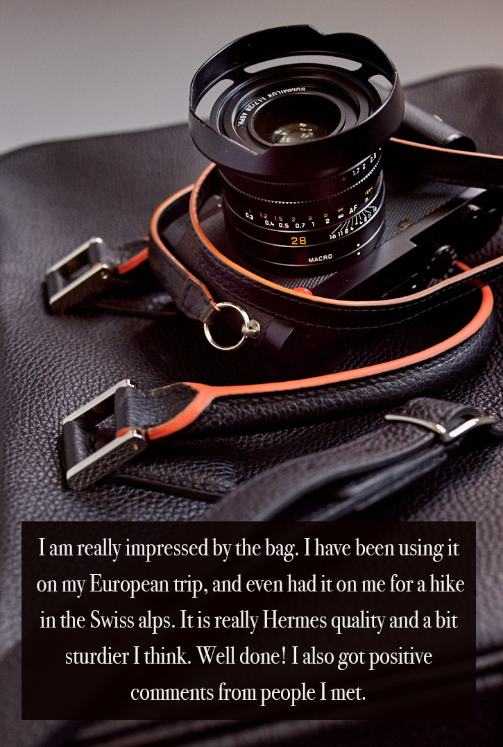 "A customer in Hong Kong who has been a Hermes client for many years, wrote us back, ""I am really impressed by the bag. I have been using it on my European trip, and even had it on me for a hike in the Swiss alps. It is really Hermes quality and a bit sturdier I think. Well done! I also got positive comments from people I met."