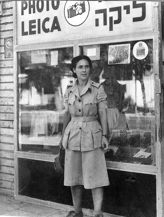 Rachel Levy in front of the Tel Aviv Leica Store in 1942. She is wearing the ATS uniform (women's branch of the British Army during the World War II and later merged into the Women's Royal Army Corps).