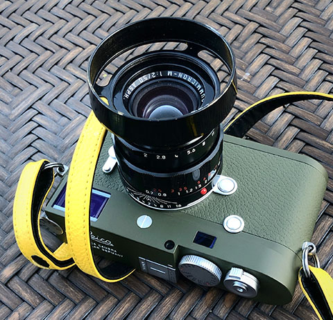 The Leica M10-P Safari with 50mm APO LHSA edition in black paint, witht the E39 Ventilated Shade in Brass Black Paint.