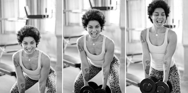 Joy Villa working out in the gym in Hollywood. Leica M 240 with Leica 75mm APO-Summicron-M ASPH f/2.0. © 2016-2017 Thorsten Overgaard.