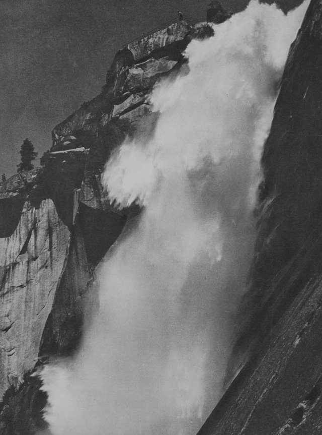 "Ansel Adams: Nevada Fall, Yousemite Valle, California. ""A superb study of water, considered by the photographer his best landscape photograph."" Goerz Dragor 12-in. lens, with K1 filter, 1/75 second; f/16, Eastman super-sensitive panchromatic film."
