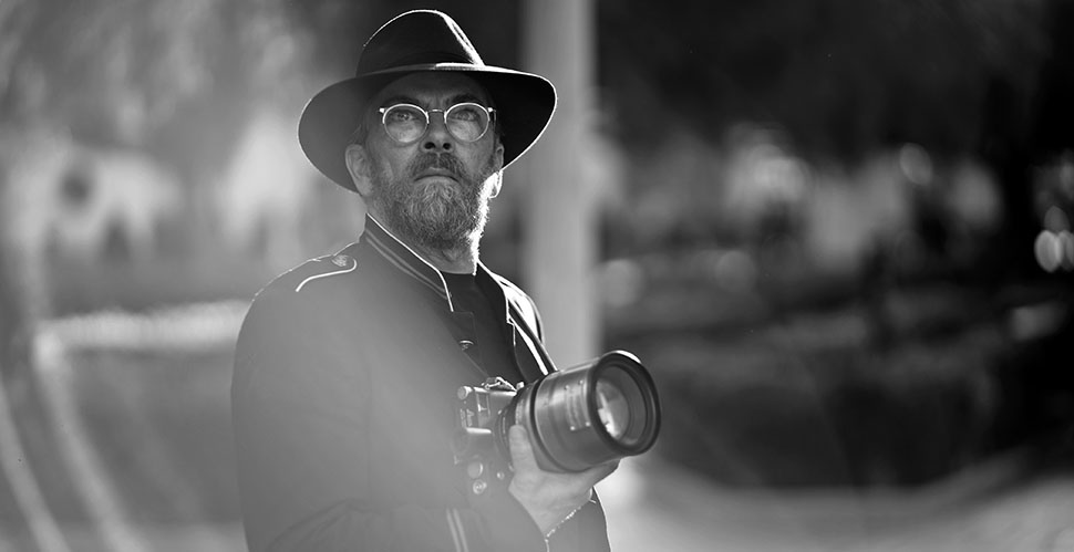 Thorsten Overgaard with Leica M10 and Cinoflex MASTERBUILT 105mm f/1.4 in Downtown Los Angeles. Photo by Tim Arasheben.