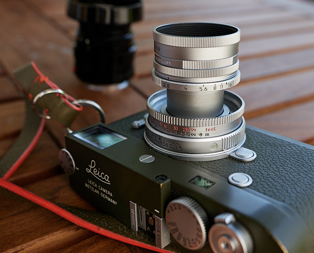 The Leica 50mm Elmar-M f/2.8 Collapsible on a Leica M10-P Safari. Here extruded for use; it can collapse into the camera so as to be more compact when not in use. © Thorsten Overgaard.